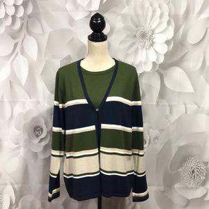 Croft & Barrow Stripe Long Sleeve Faux Twin Set XL